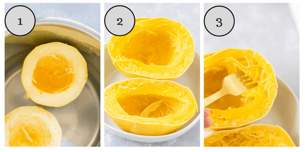 a collage with step by step instructions showing how to cook spaghetti squash in the instant pot
