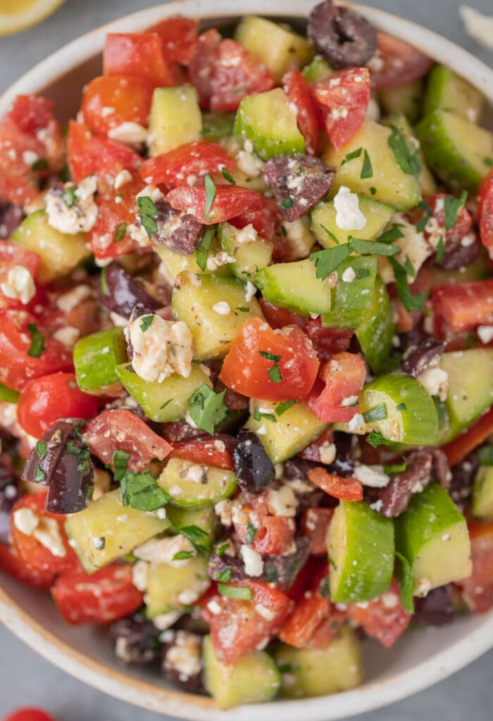 A close up of greek salad in a bowl